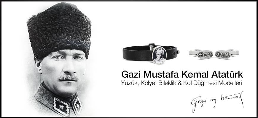 Mustafa Kemal Atatürk Yüzük, Kolye, Bilekli & Kol Düğmesi