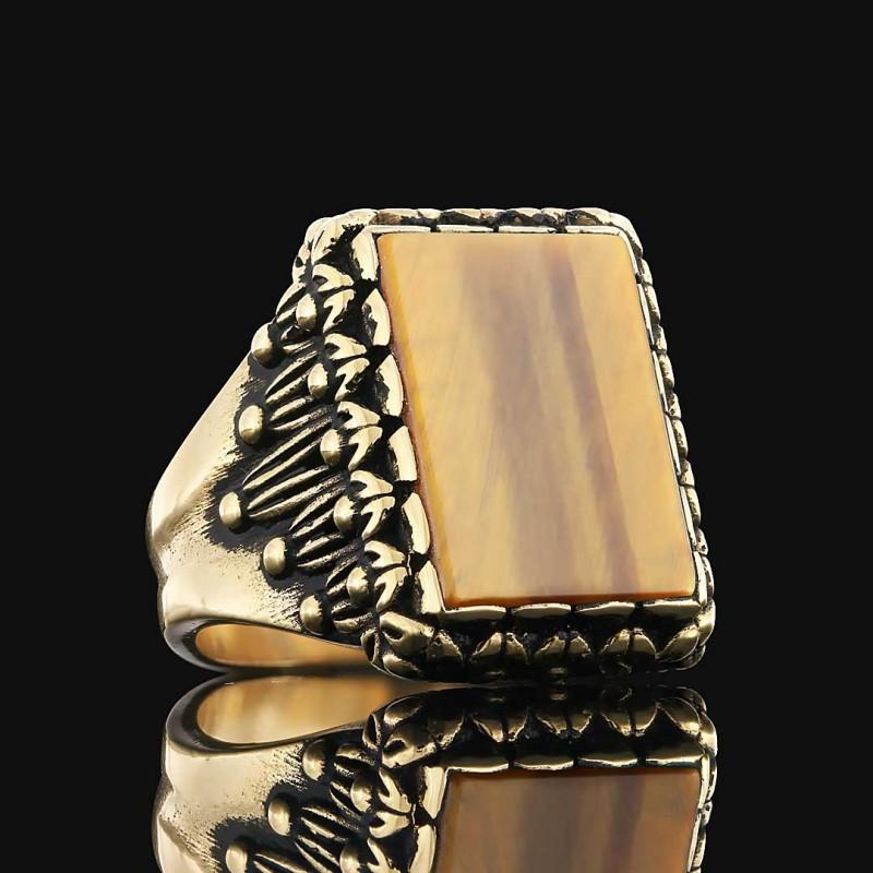 Kaplangözü Taşlı 925 Ayar Gümüş Erkek Yüzük