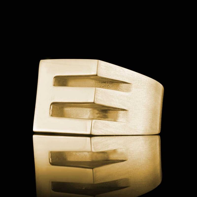 925 Ayar Gümüş E Harfi Yüzük