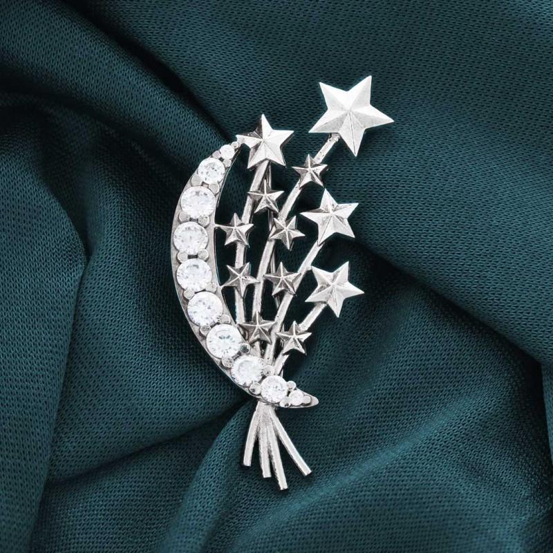 925 Ayar Gümüş Yıldızlı Broş