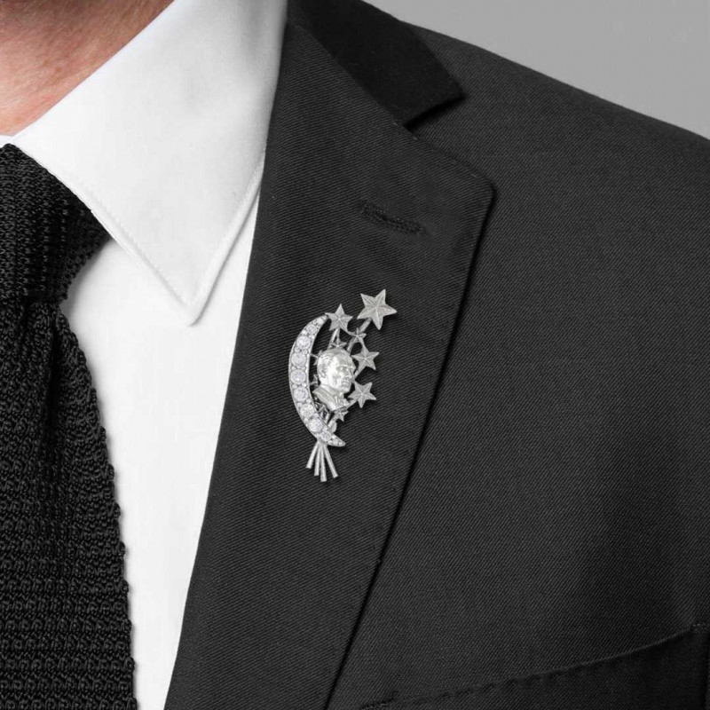 Özel Tasarım Atatürk Broş Gümüş 925 Ayar