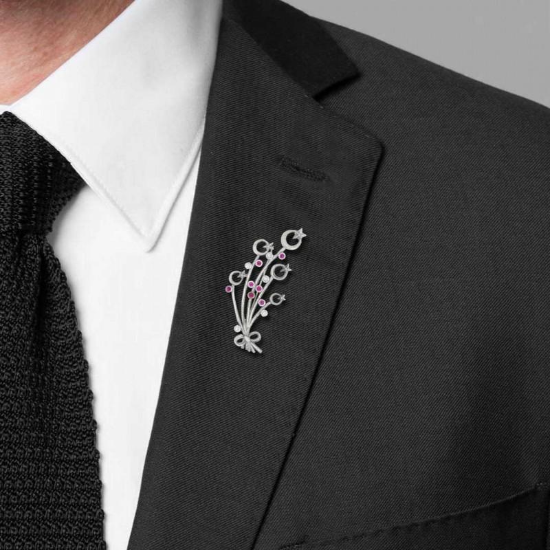 Özel Tasarım Ay Yıldızlı Broş Gümüş 925 Ayar