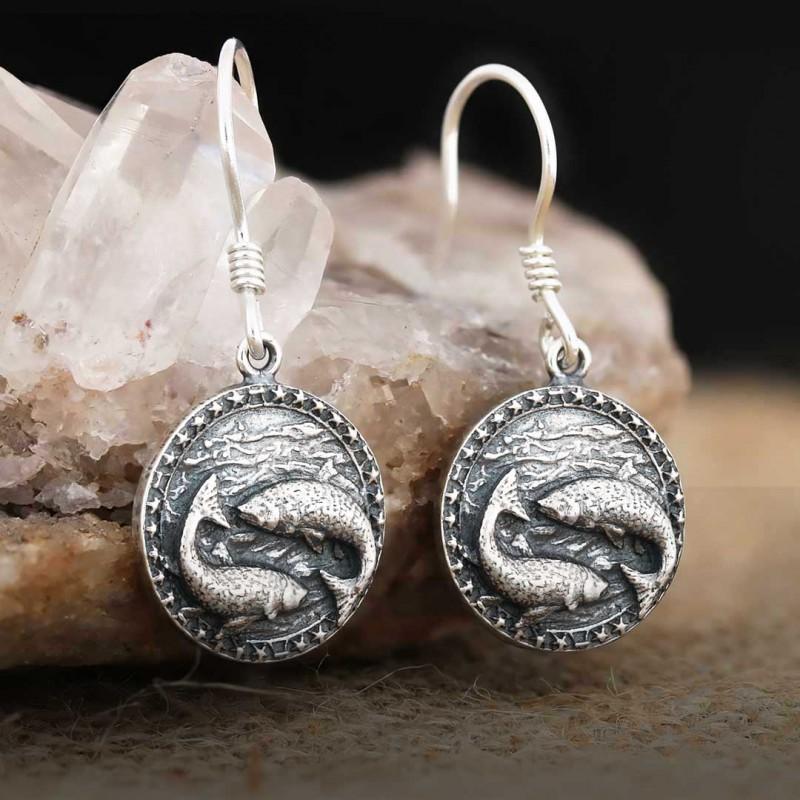Balık Burcu Küpe Gümüş 925 Ayar