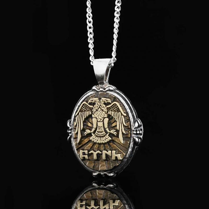 Göktürkçe Kolye Gümüş Erkek 925 Ayar