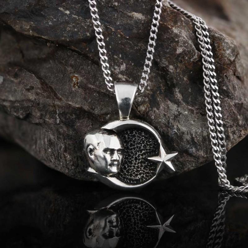 Gümüş Ay Yıldız Atatürk Siluetli Kolye