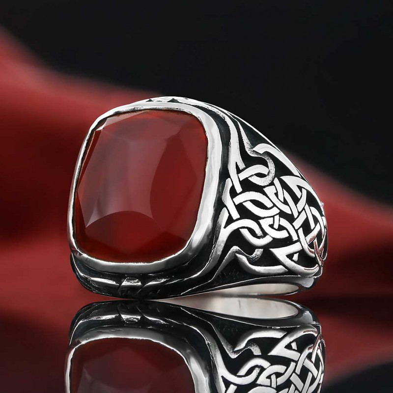 Özel Motifli Gümüş Erkek Yüzüğü
