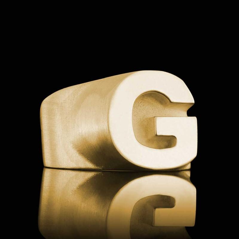 Gümüş G Harfi Kalın Alfabe Yüzük