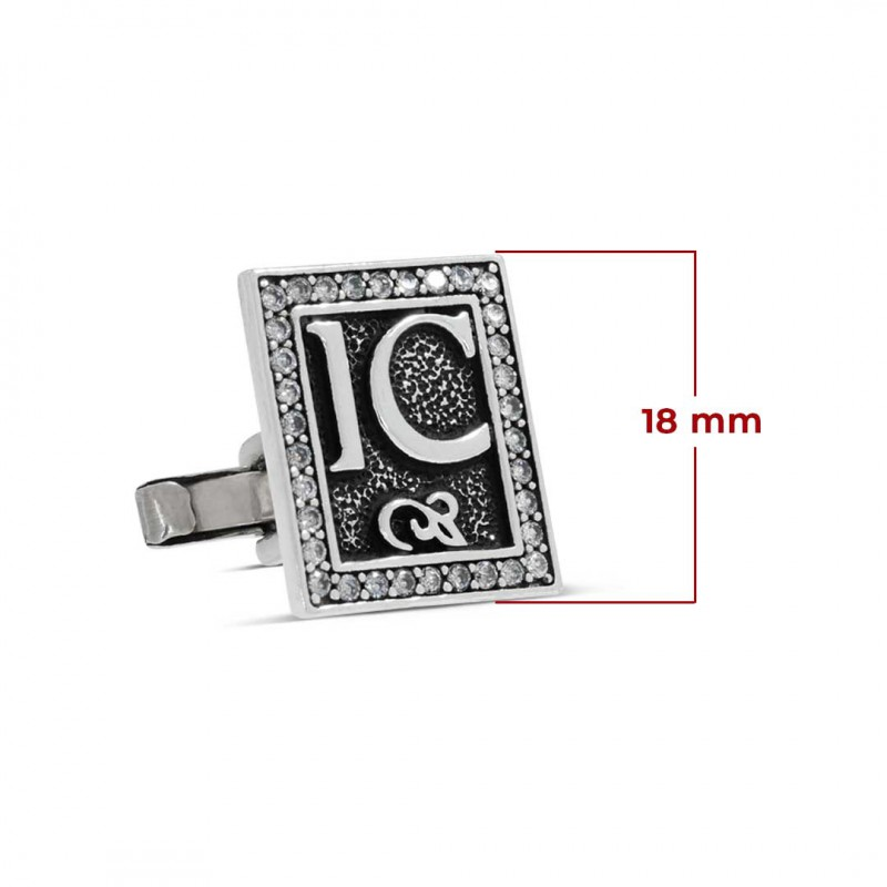 Gümüş Mineli Harfli Kol Düğmesi