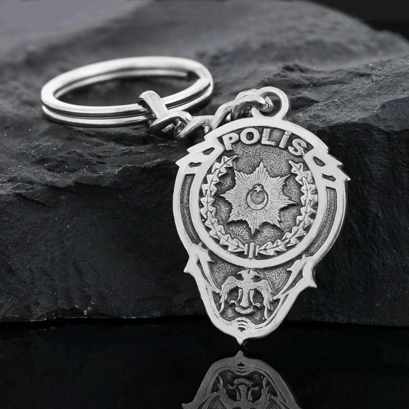925 Ayar Gümüş Polis Logolu Anahtarlık