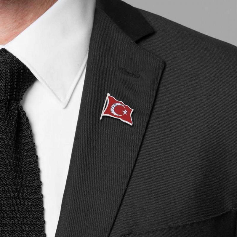 Gümüş Taşlı Türk Bayrağı Rozet