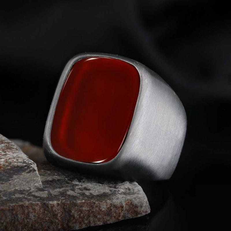Kırmızı Akik Taşı Yüzük Gümüş Erkek