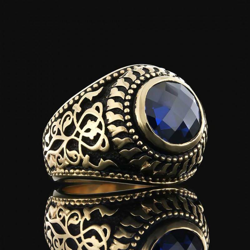 El Yapımı Özel Tasarım Motifli Erkek Gümüş Yüzüğü