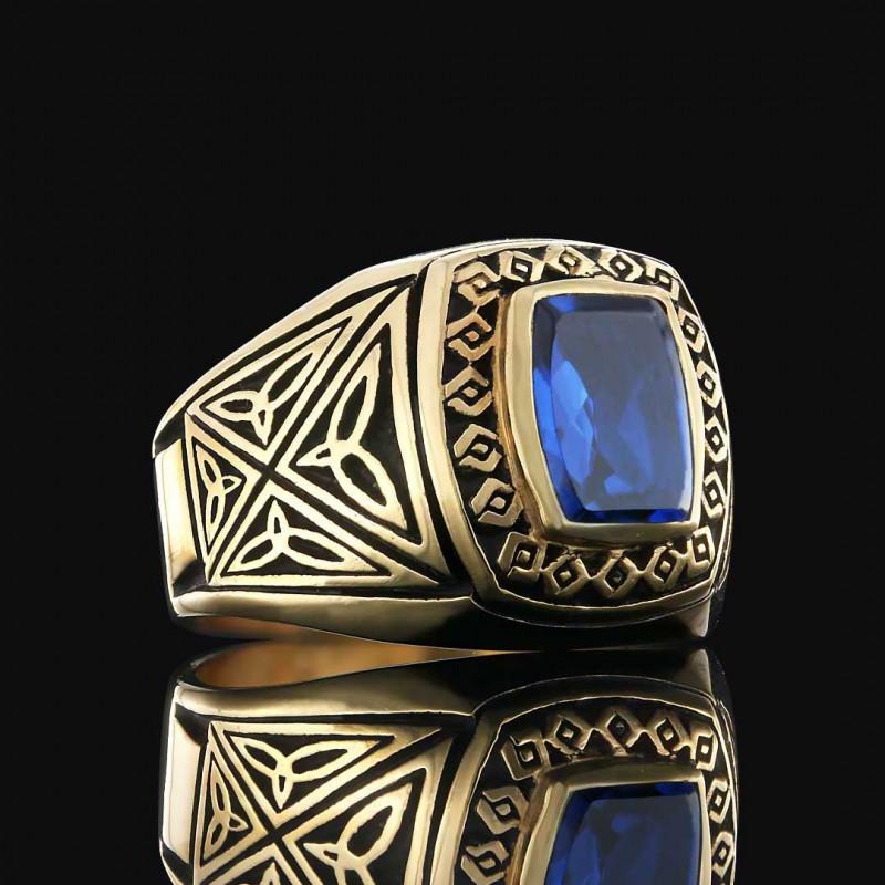 Simetrik Desen İşlemeli 925 Ayar Gümüş Erkek Yüzük