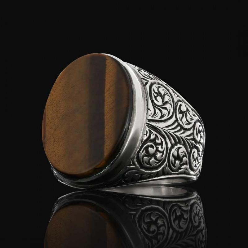 925 Ayar Motifli Taşlı Erkek Gümüş Yüzük