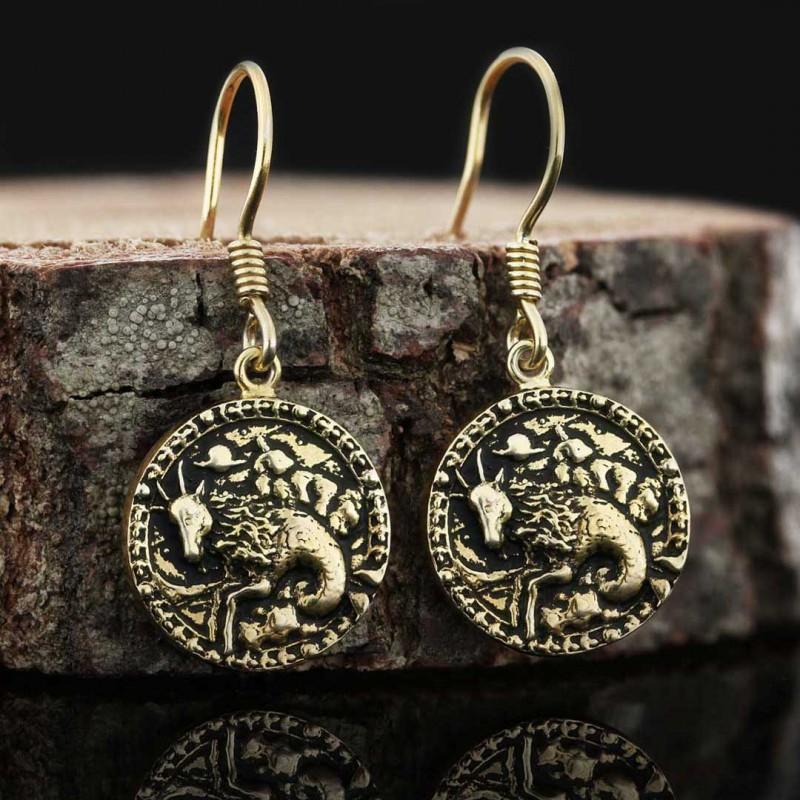 Oğlak Burcu Küpe Gümüş 925 Ayar