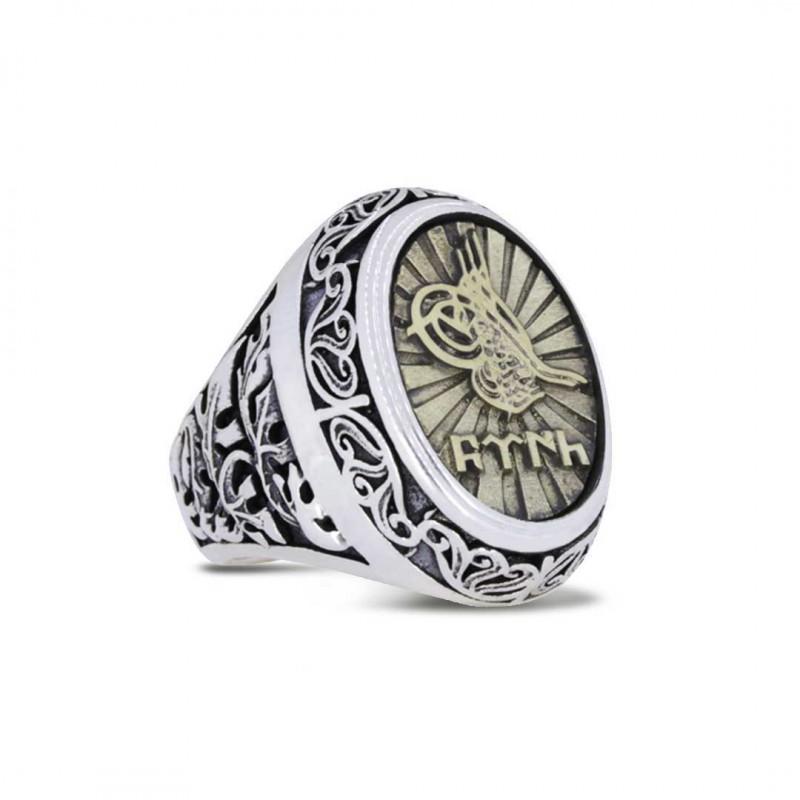 Tuğralı Gümüş Erkek Yüzüğü 925 Ayar