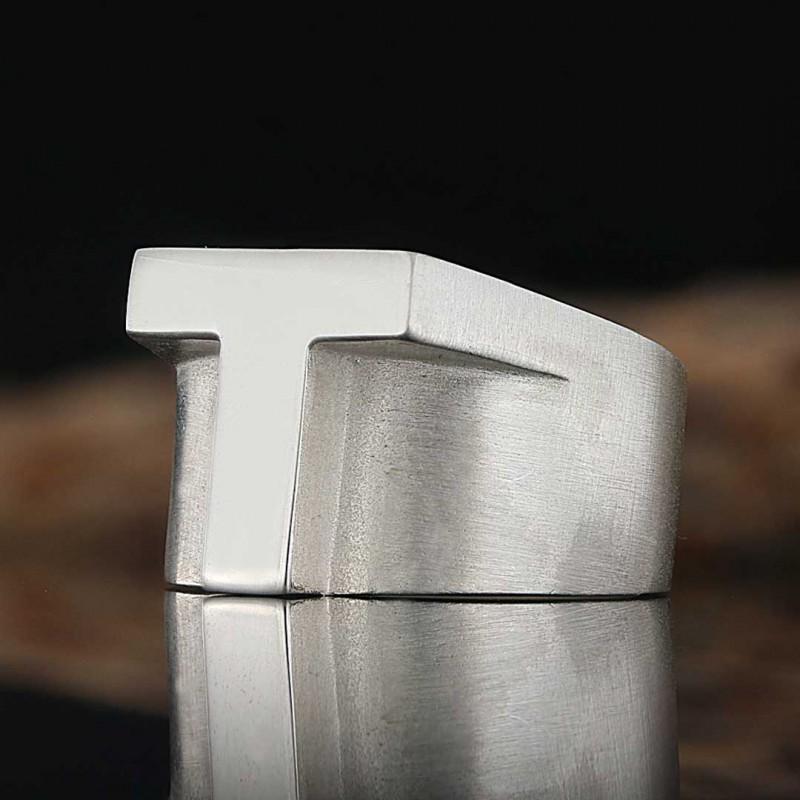 Özel Tasarım Gümüş Harf T Yüzük