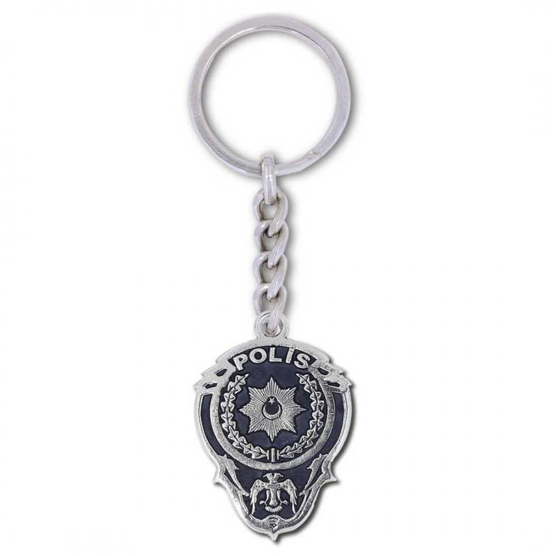 Gümüş Polis Anahtarlık Modeli
