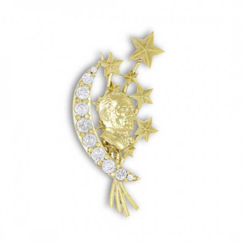 Taşlı Atatürk Siluetli Gümüş Broş