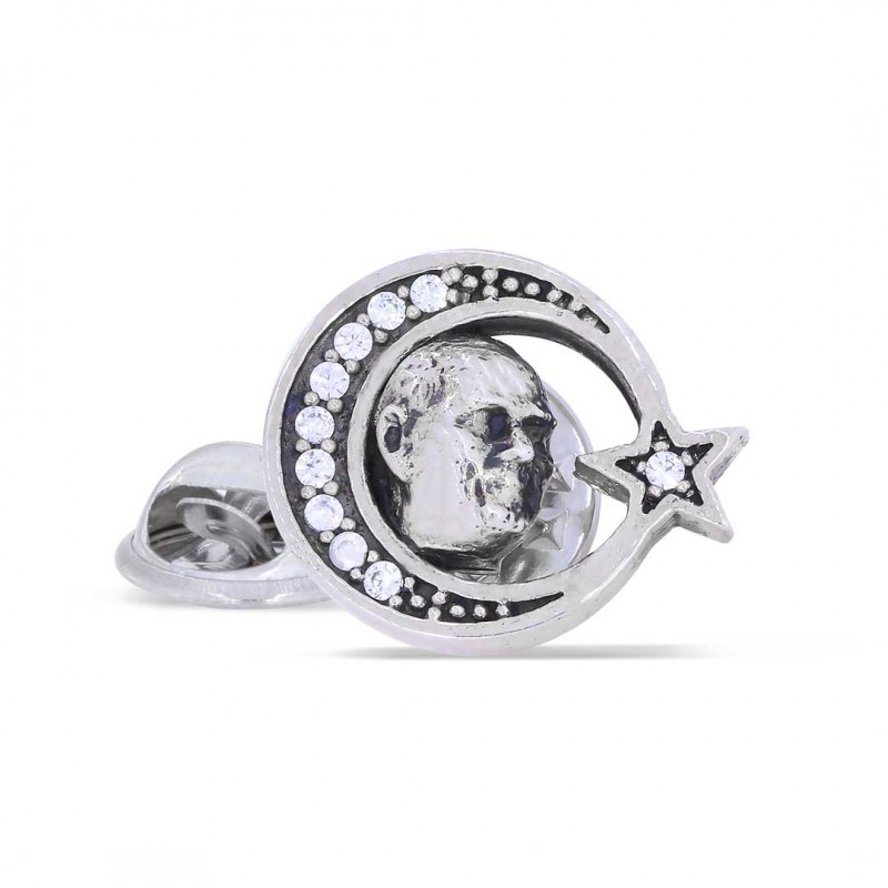 Taşlı Ay Yıldız İçinde Atatürk Portre Rozet