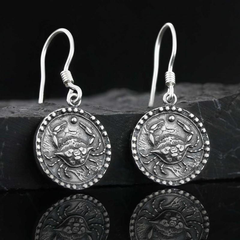 Yengeç Burcu Küpe Gümüş 925 Ayar