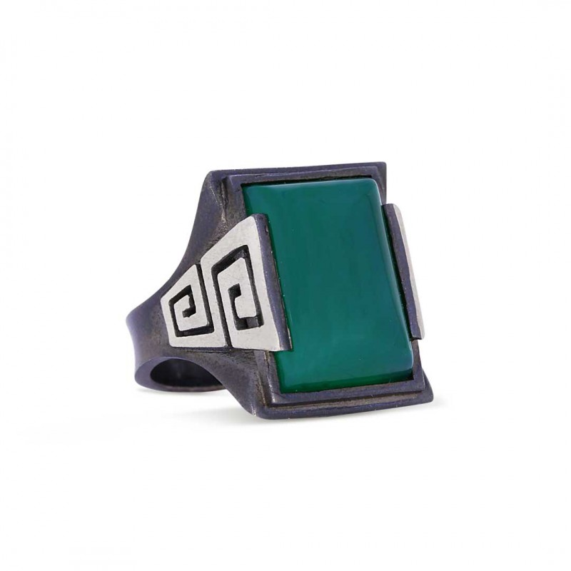 Dikdörtgen Kesim Yeşil Gümüş Akik Yüzüğü