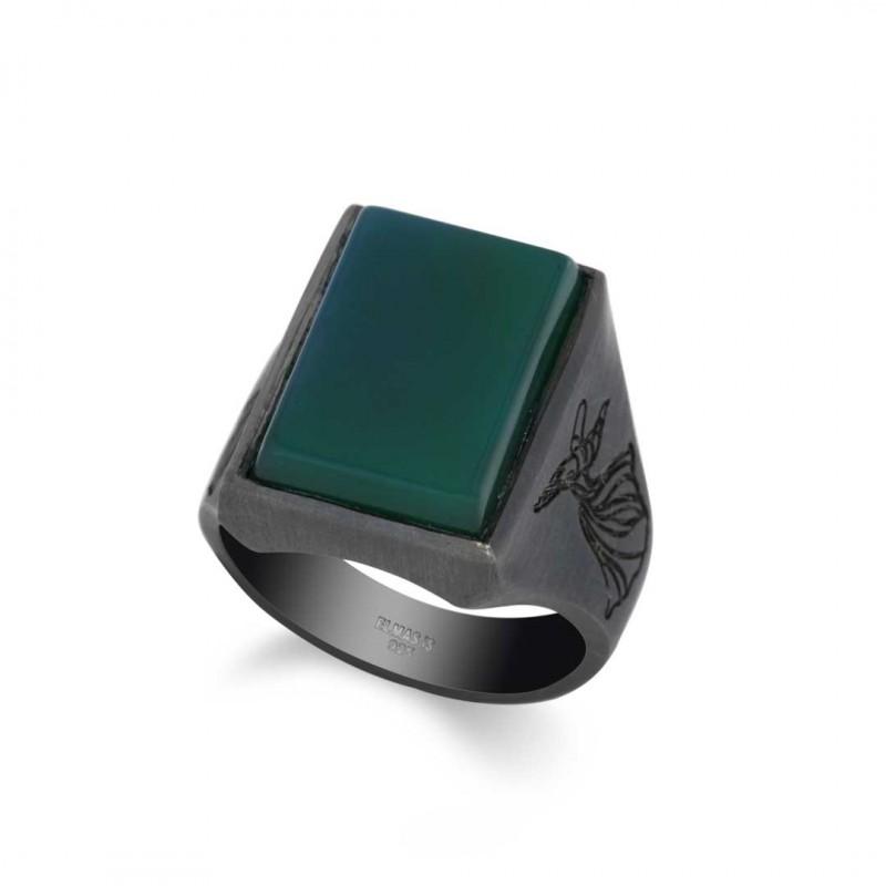 Yeşil Akik Mevlana Yüzüğü