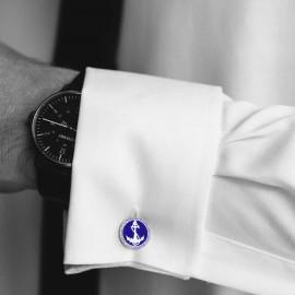 Çapa Mavi Mineli Kol Düğmesi